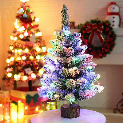 Artificial Flocking Snow Christmas Tree LED Multicolor Lights Holiday Decor