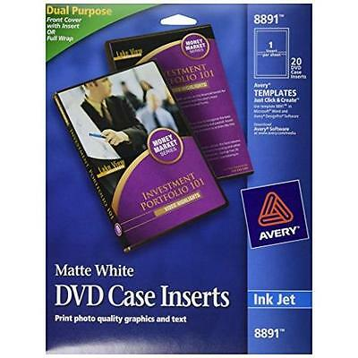 Avery DVD Case Inserts, Matte White, 20 Inserts (8891) New