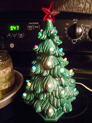 Vintage Ceramic Christmas Tree with lights and star