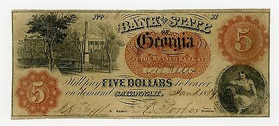 1859 $5 The Bank of the State of GEORGIA Note (Athens Branch)