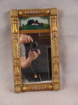 Antique  19c Federal Small Reverse Painted Gilt Wood Mirror W/ Cottage Landscape