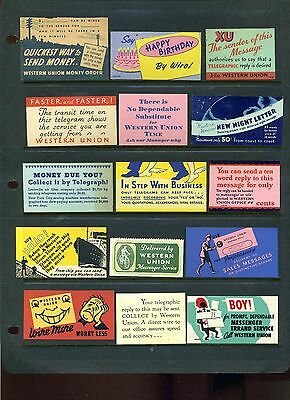 Western Union Telegraph Company Lot Of 15 Poster Stamps Labels (Lot Tele-6)