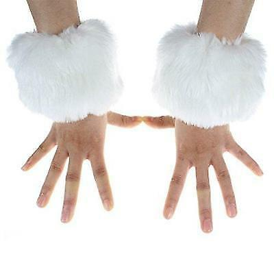 ECOSCO One Pair Faux Rabbit Fur Hair Soft Wrist Band Ring Cuff COZY FUZZY Warm