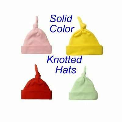 Solid Color Unisex Baby Knotted Hats - 17 Colors - 7 Preemie, Newborn to 6 Month