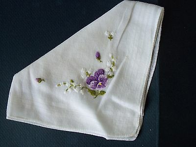 """Vintage 11"""" Square Embroidered Handkerchief Woven Border Pansy"""