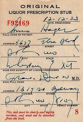 Prohibition Whiskey Prescription Old Doctor Stub Pharmacy Bar St Louis MO 12/12
