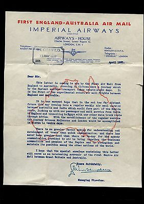 Imperial Airways First Air mail Letter 1931 England to Australia