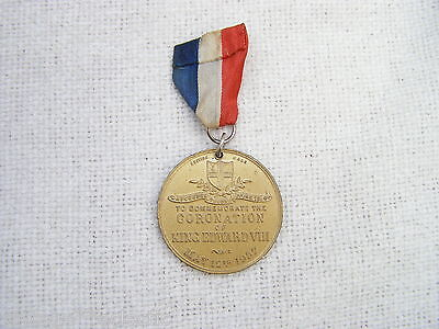 KING EDWARD VIII 8th GILT CORONATION MEDAL & ORIGINAL RIBBON from 1937 ~ ROYALTY