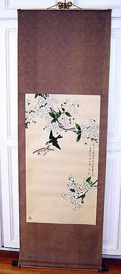 Large Vintage Hand Painted Chinese Wall Scroll Hanging Birds & Apple Blossoms NR