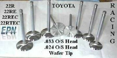 22R/RE  Toyota Stainless valves 1.803 1.481 Oversize forged performance valves