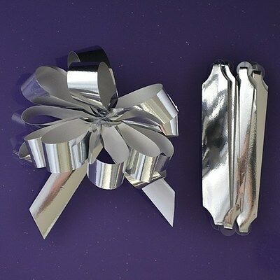 Purple Cupcakes Quick Pull Bow / Cupcake Bouquet Bow - Metallic Silver