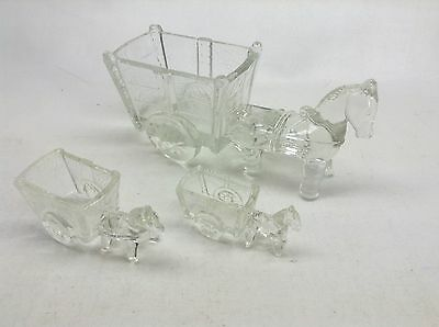 "3 Clear Glass Donkey And Cart Candy Dishes 9.1/2""  4.1/2"" 4"""