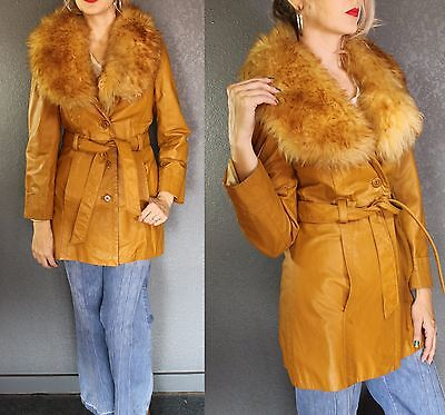 ViNTAGE 70s Butterscotch LEATHER fluffy SHEARLING Lamb Fur Boho Hippie JACKET
