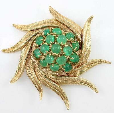 Large Heavy Vintage 14K Yellow Gold Natural Emerald Flower Pin Brooch Pendant