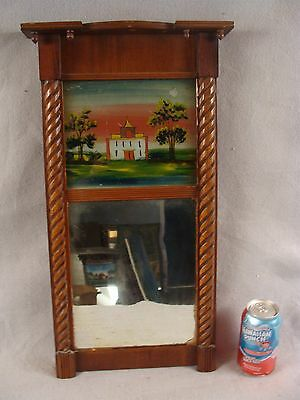 Antique 1842 Federal Carved Mahogany Wall Mirror Cottage Scene