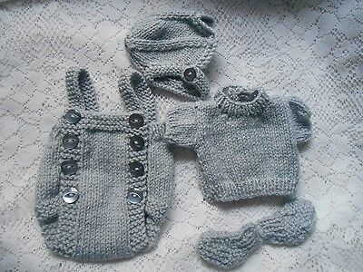 Doll Clothes grey mouse Suit handcrafted 4pcs for composition baby 11 - 13""