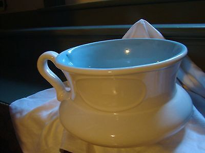 Vintage Porcelain Chamber Pot CCO White With Light Blue Inside w/flaw