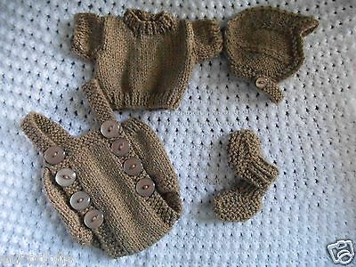 "Doll Clothes brown mouse color set handcrafted 4 pc for composition baby 11"" 13"""