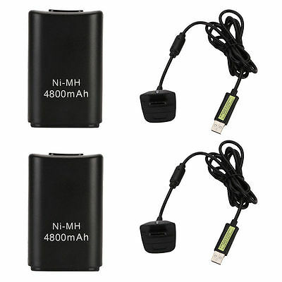 2PC BLACK XBOX 360 PLAY AND CHARGE KIT 4800mAH RECHARGEABLE BATTERY PACK & CABLE