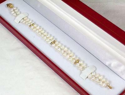 """Boxed 14ct Gold Clasp & Bead 7 1/2"""" Long Double Strand Cultured Pearl Bracelet"""