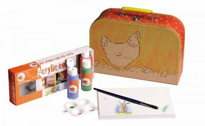 Coloring set Chicken in the suitcase 6x Acrylic paint, Canvas