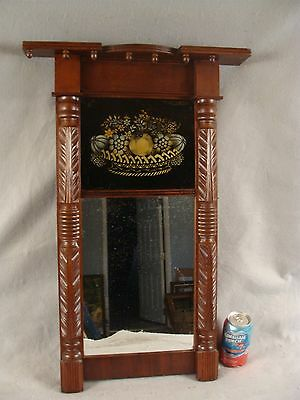 Antique 19C Federal Carved Mahogany Wall Mirror Basket Fruit & Flowers