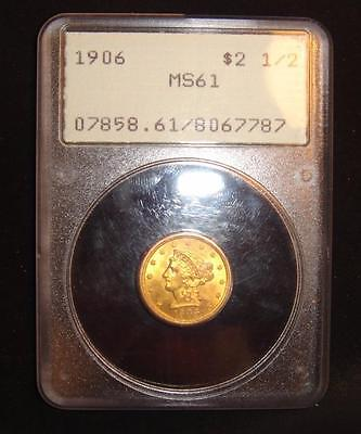 1906 $2 1/2 Liberty Head Gold Coin Quarter Eagle MS61 PCGS Rattler Holder Old