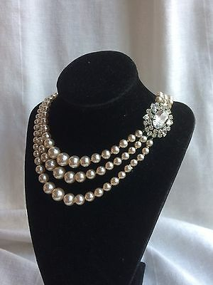 Vintage 1950s Triple Strand Faux Pearl Necklace Crystal Clasp Royal Family