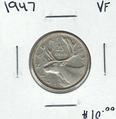 Canada 1947 Silver 25 Cents VF Lot#3