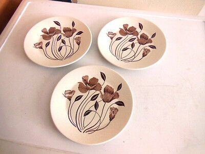 J&G MEAKIN VINTAGE RETRO 1970s MAIDSTONE WHISPERING PATTERN SET 3 X 7'' PLATES