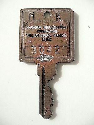 Williamsburg Inn, vintage room key -  Colonial Williamburg Foundation, Virginia