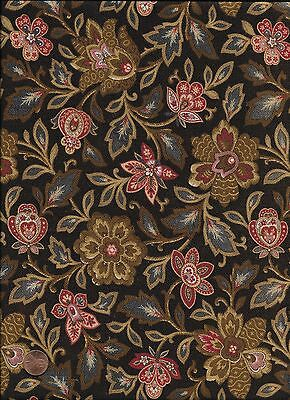 Antique 1870 Floral Chocolate Brown Twill Fabric