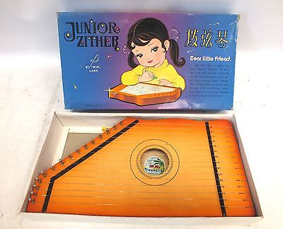 Vintage JUNIOR ZITHER Children's Musical Instrument Boxed w/ Instructions - B86