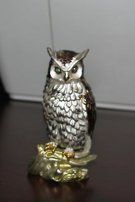 Owl Trinket Box With Green Crystal Eyes & A Pearl Colored Enamel Insides