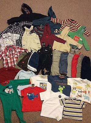 Huge Baby Boys 9-12 Month Bundle 31 Items Dungarees Trousers Tops Hoodies Coats