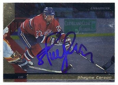 1997 UD SPA #84  Shayne Corson Autographed Hockey Card Montreal Canadiens