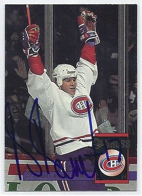 1994 Donruss #166 Benoit Brunet Autographed Hockey Card Montreal Canadiens
