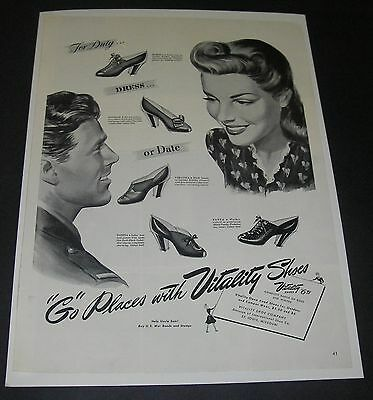 Print Ad 1943 FOOTWEAR Women's Vitality Shoes Go Places Fashion Style