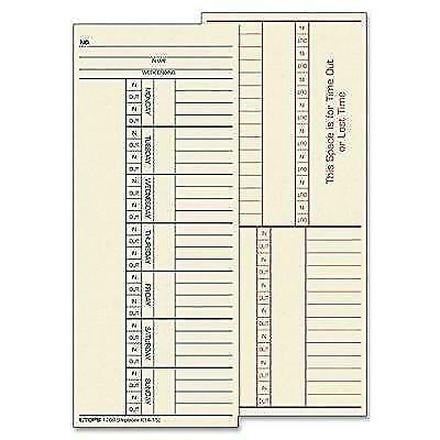 "TOPS Time Cards, Weekly, 2-Sided, Named Days, 3-3/8"" x 8-1/4"", Manila, Green/Red"