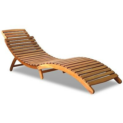 Folding Curved Reclining Wooden Sun Lounger Patio Sunbed Deck Patio Seat Chair