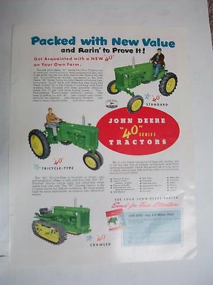 Original 10 x 13 1953 John Deere Tractor Ad NEW SERIES 40 PACKED WITH NEW VALUE