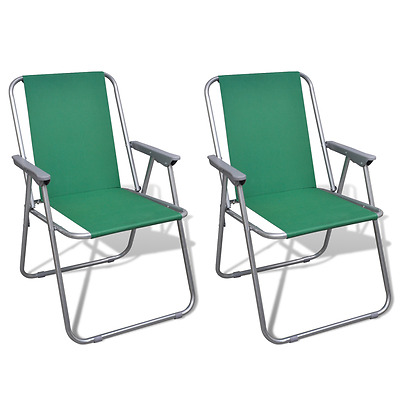 New Outdoor 2pc Green Portable Fishing Chair Camping Seat Folding Hiking Stool
