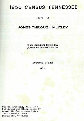 1850 Census Tennessee vol 4 by Sistler 1975 hard cover 324 pages genealogy names
