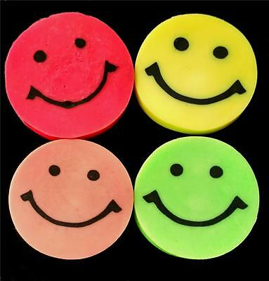 Bulk Lot x 10 Smiley Face Rubber Erasers Novelty Stationery Party Favors New