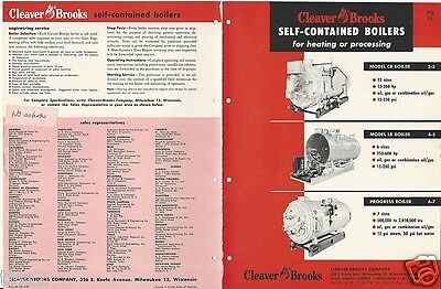 1958 CLEAVER-BROOKS Self Contained BOILERS Catalog Company w/ ASBESTOS History