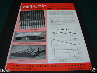 AMERICAN STEEL Band Co Catalog Roofs Siding ASBO 1943 ASBESTOS Government Use!