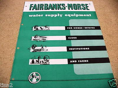 1954 FAIRBANKS MORSE Water Supply Systems Equipment Catalog Known ASBESTOS user