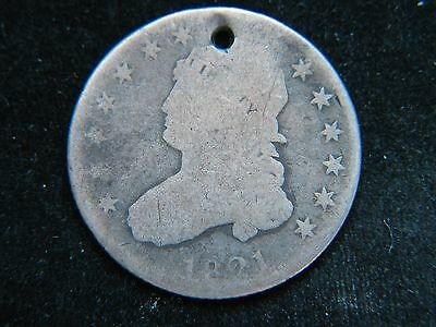 1821 25C Capped Bust Silver Quarter Rare Type Coin Large Diameter Holed