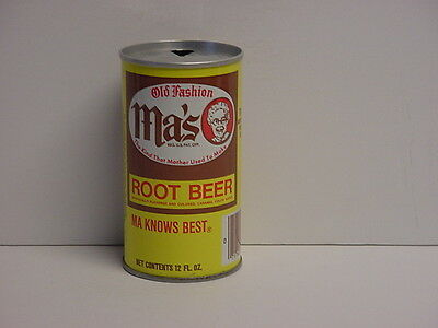 Vintage Ma's Old Fashion Root Beer Pull Tab Straight Steel Soda Can Top Opened