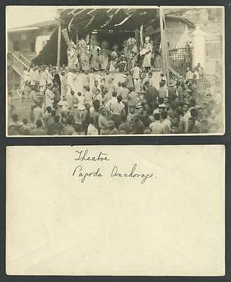 China Old Real Photo Chinese Opera Open-Air Theatre Pagoda Anchorage Stage Actor